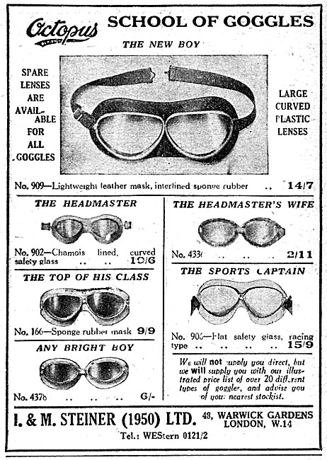 Octopus Range Of Motor Cycle Goggles 1952