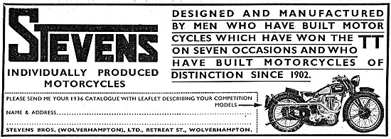 Stevens Motor Cycles - Stevens Brothers Motorcycles 1936