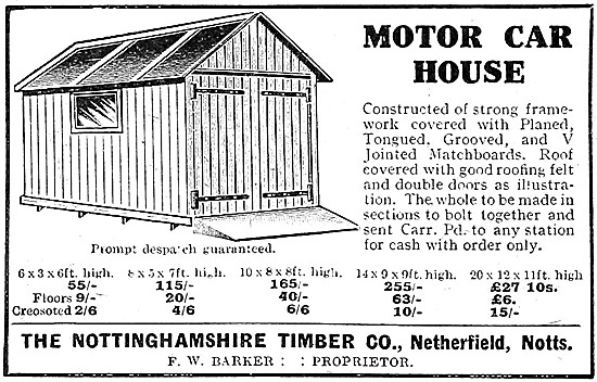 The Nottinghamshire Timber Company, Netherfield. Motor Car Houses