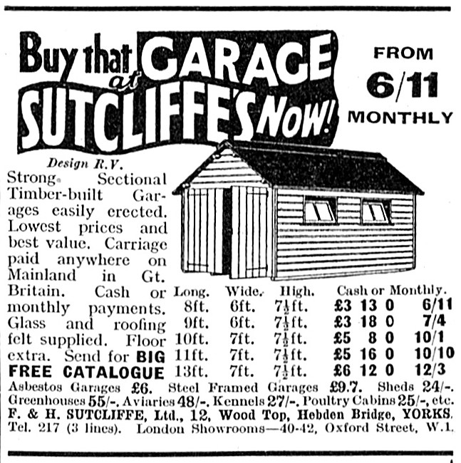 Sutcliffes Motor Cycle Garages & Sheds 1939