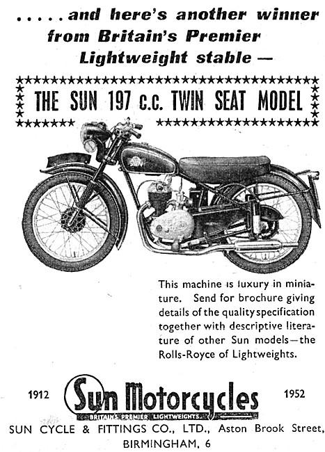 1953 Sun 197 cc Twin Seat Motor Cycle