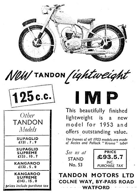 Tandon Imp 125 cc - Tandon Motorcycles 1952