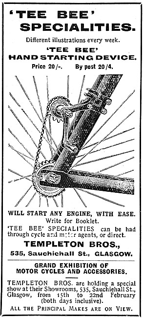 Templeton Tee Bee Motor Cycle Hand Starting Device 1908