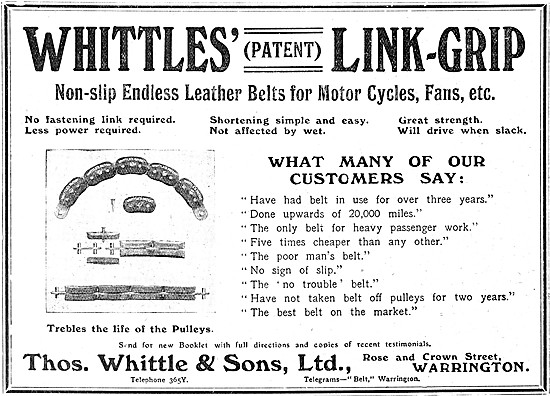 Whittles Patent Link-Grip Motor Cycle Belts