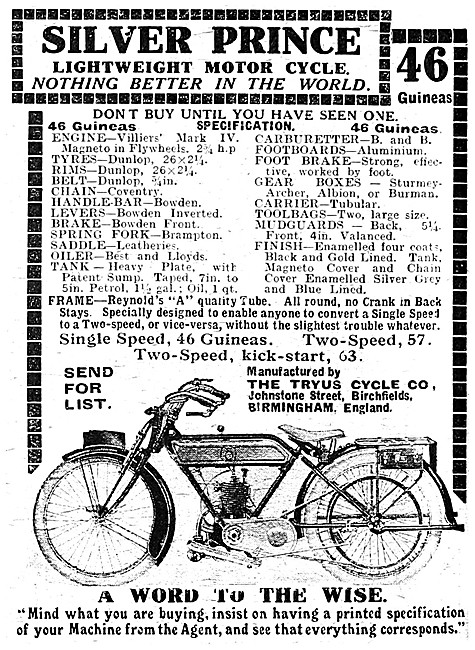Tryus Motor Cycles - Tryus Silver Prince Motor Cycle 1921