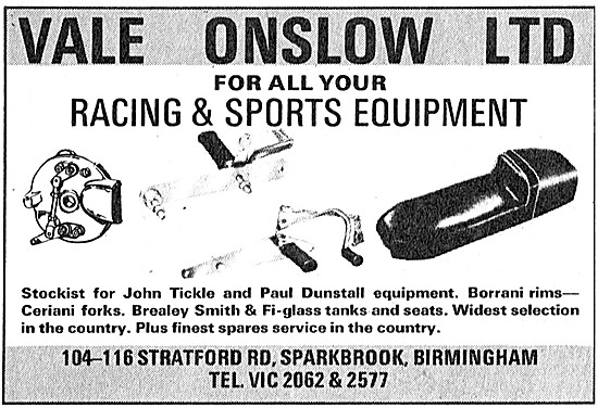 Vale Onslow Motorcycle Sports Equipment
