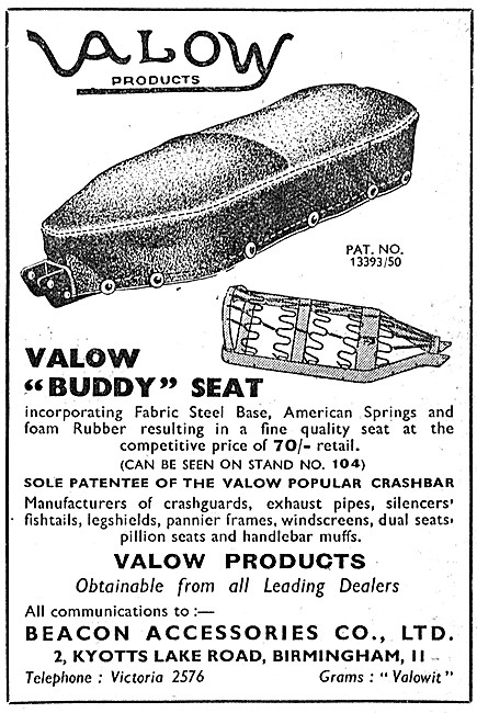 Valow Motorcycle Accessories - Valow Motor Cycle Buddy Seat