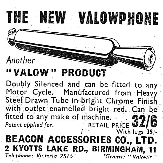 Valow Motorcycle Accessories - Valow Motor Cycle Silencers