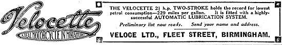 1919 Velocette 2 1/4 Two-Stroke Motor Cycle