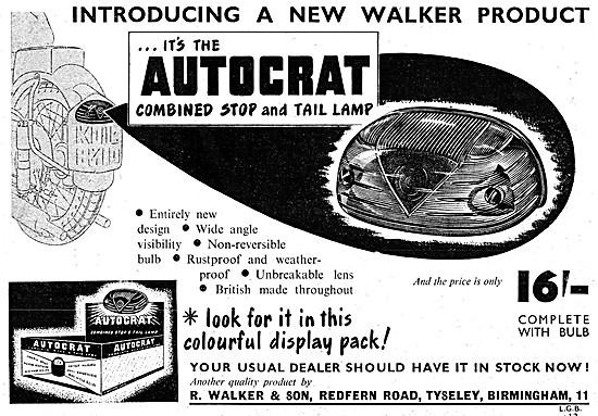 Walker Motorcycle Lighting Equipment - Autocrat Stop & Tail Lamp