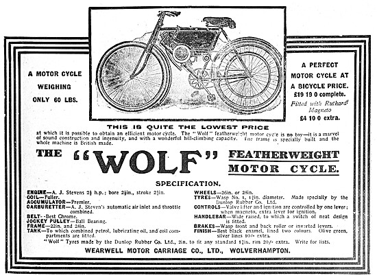 1908 Wolf Motor Cycle - Wolf  Featherweight Motor Cycle
