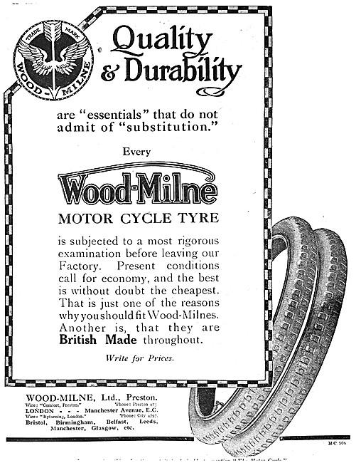1917 Wood-Milne Motor Cycle Tyres
