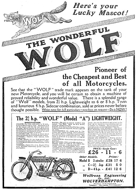 The 2.75 hp Wolf Model  A Lightweight Motor Cycle
