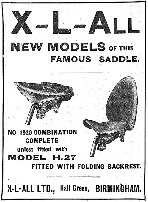 Xl'All H.27 Motor Cycle Saddle With Folding Backrest