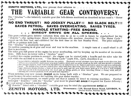 Zenith Motor Cycles - Zenith Motor Cycle Variable Gear