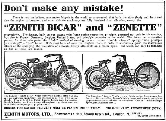 Zenith Motor Cycles - Zenith Bicar - Zenith Zenette