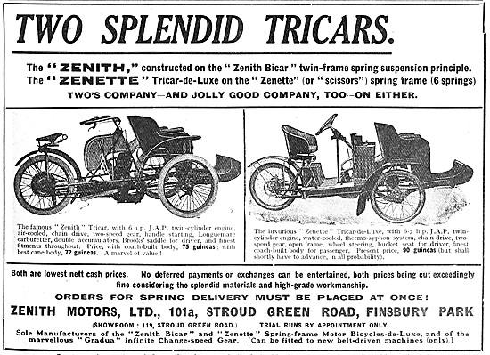 1908 Zenith Motor Cycles - Zenith Bicar - Zenith Zenette